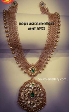 Gold links haram with uncut diamond pendant photo Pearl Necklace Designs, Jewelry Design Earrings, Gold Jewellery Design, Bold Necklace, Diamond Necklaces, Latest Gold Jewellery, Cz Jewellery, Antique Necklace, Gold Earrings