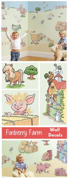 A cute way to decorate a farm themed nursery. These decals are a quick easy way to decorate the whole room.