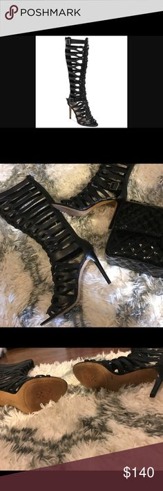 """Vince Camuto, Gladiators ❤️🌸 It can fit a size 7 1/2 - 8 medium. The size runs in between. The fit will be great for someone with slim legs and calves. I bought this when I was a size 7 1/2 and the size states; 8 medium. """"It will not fit someone one on the thick side! """"Used once, tiny dent on the upper heel, has shown in the pictures, includes box 📦. Vince Camuto Shoes Sandals"""