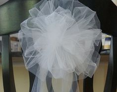 white or ivory extra fluffy white or ivory tulle chair pew bows 26 inches long total great for arches stairs and candelabras