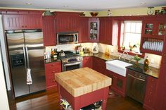 Red Country Kitchen | Country Woodworkers - Kitchen Gallery of Nassichuk Residence