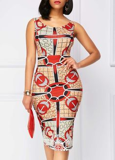 Printed Zipper Back Sleeveless Sheath Dress | Rosewe.com - USD $32.64