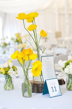blue and yellow flowers for table