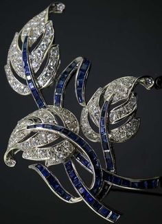 Paul Flato - Broche 'Feuillage' - Platine, Diamants et Saphirs