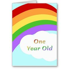 Rainbow Birthday Card For One Year Old