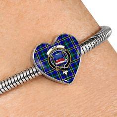 Spalding Tartan Crest Heart Bracelet – Your Tartan Working Mother, Working Moms, Us Patent, Scottish Tartans, Everyday Items, Heart Bracelet, Bangles, Bracelets, Heart Charm