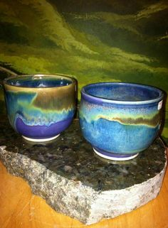 Look how beautiful these are, not mine, but love her glaze combos. It is Seaweed over Lapis. on B-mix 5, cone 6 medium, slow cool 150 degrees/hr down to 900 degrees.