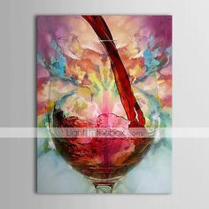 Oil Paintings One Panel Modern Still Life Wine Cup Hand-painted Canvas Ready to Hang - USD $ 49.99