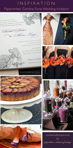 - a plum purple and pumpkin orange wedding featuring a pretty invitation from Paperwhites. A great nontraditional wedding cake, pretty purple wedding shoes, dark purple bridesmaids dresses and lots of options for orange flowers. Dark Purple Bridesmaid Dresses, Purple Wedding Shoes, Orange Wedding, Wedding Flowers, Purple Shoes, Wedding Looks, Fall Wedding, Pumpkin Wedding Cakes, Wedding Dress Cake