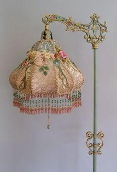 Chandeliers, Chandelier Lamp, Ribbon Work, Silk Ribbon, Victorian Lamps, Vintage Sideboard, Antique Lighting, Shabby Chic Style, Interior Decorating