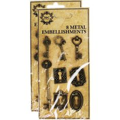 Metal Embellishments - Pack Of 8 | Card Making Supplies at The Works
