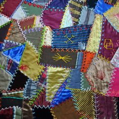 Antique crazy quilt, not done in blocks