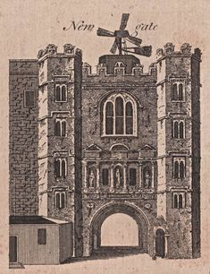 Newgate - The City Gates as they appeared before they were torn down - reproduced in Harrison's History of London - 1775 Uk History, London History, Family History, Old London, London City, London Drawing, Brick Lane, London Places, Interesting Buildings
