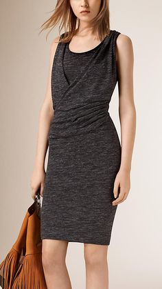 Burberry Dark Grey Ruched Detail Linen and Wool Blend Dress - An effortless dress in a linen and virgin wool blend. Tailored for a close fit, the silhouette features a feminine ruched detail on the front. Discover the women's dress collection at Burberry.com