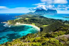 Lord Howe Island in Australia. Very beautiful, the remote island is not open to everyone all the time. Only 400 visitors are allowed to be there at a time. Because of that, the natural beauty of Lord Howe Island has been well preserved. Australia Tourism, Visit Australia, Western Australia, Australian Continent, Best Snorkeling, Australian Beach, Airlie Beach, Great Barrier Reef, Vacation Spots