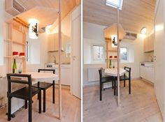 How do you create a home with just 94 square foot of living space? Sweden's Lund housing commission AF Bostader designed this contemporary micro apartment for a student. Flat Interior Design, Apartment Interior Design, Tiny Studio, 3d Studio, Micro Apartment, Student Apartment, Sweden House, Narrow Living Room, Micro House