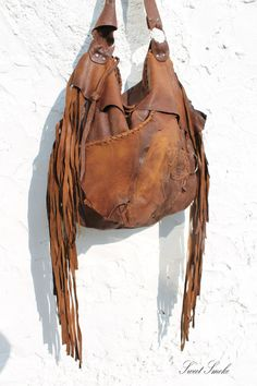 RESERVED for P. Large tribal leather raw edges by SweetSmokebags