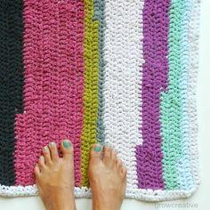 Colorful Crochet Free T-Shirt Rug Pattern