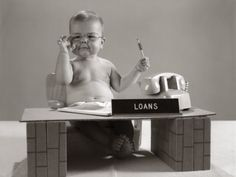 size: Photographic Print: Baby at Desk Playing Loan Officer Poster by H. Best Mortgage Rates Today, Best Mortgage Lenders, Paying Off Mortgage Faster, Refinance Mortgage, Mortgage Tips, Mortgage Calculator, Mortgage Humor, Mortgage Loan Officer
