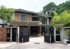 Ukay Heights Residence is a large-scale renovation of an existing detached house built in the Car Porch Design, House Gate Design, Gate House, House Roof, Facade House, House Facades, Terrace House Exterior, Bungalow Haus Design, Tropical House Design