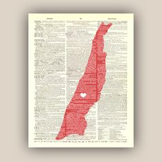 PERSONALIZED Manhattan Map Art Print, AMERICAN old dictionary page,Times Square hearted, map wall art, decorative arts,11x14 Print,
