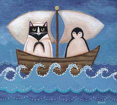 "(via ""Sailor Cat & Penguin"" by Ryan Conners | Redbubble)"