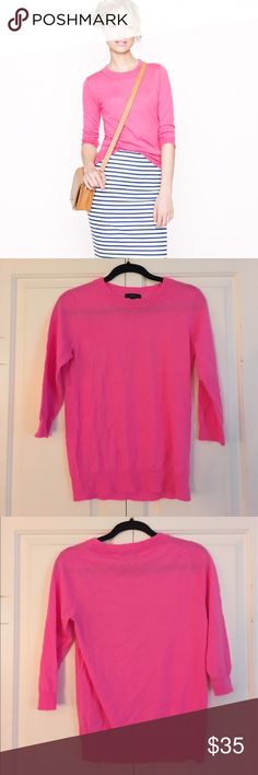 J. Crew Pink Tippi Sweater J. Crew pink tippi sweater. 3/4 sleeves. 100% merino wool. Worn once. Like new. J. Crew Sweaters Crew & Scoop Necks