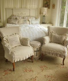 Shabby chic slip covered chairs by dovesanddahlias on Etsy, $440.00