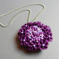 Romantic hand made polymer clay purple blossom pendant
