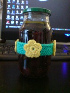 crocheted vase of olives
