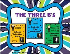 ***$7.00***Overview:  This product is a curriculum integration tool incorporating music, history, math and writing for 2-5th.  The lesson is built around students learning some facts about The Three Bs (BACH, BEETHOVEN & BRAHMS) Each composer contains the following:  identifying and singing a musical theme with original fun lyrics and writing creative narratives.