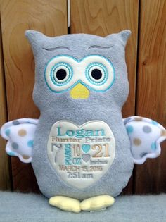 Monogrammed Baby Gift Embroidered Owl Made by WorldClassEmbroidery