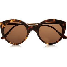 Illesteva Palm Beach round-frame acetate sunglasses (€220) ❤ liked on Polyvore featuring accessories, eyewear, sunglasses, glasses, occhiali, tortoiseshell, tortoise sunglasses, round frame sunglasses, brown sunglasses and acetate sunglasses