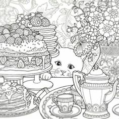 Cat Teatime The Night Voyage Coloring Book