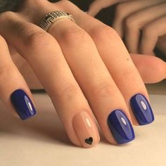 13 Beautiful summer nail art designs to try this summer 2017 - Gazzed : Beautiful Navy Blue nails with tiny Heart shape. pink nail polish on rounded shaped nail. Short Nail Designs, Cool Nail Designs, Art Designs, Design Ideas, Design Art, Pink Nail Polish, Pink Nails, Navy Blue Nails, French Nails