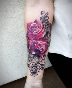 lace & roses tattoo © Adria Tattoo artist