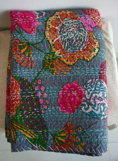 In love with this. Twin Blanket  in Pretty Blueish Grey by gypsya on Etsy, $84.00