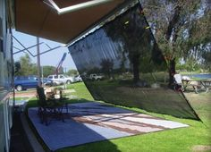 http://www.replacementpopupcamperparts.com/popupcamperawnings.php has some information concerning awnings that can help to protect one from the sun.
