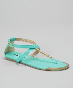 Look at this #zulilyfind! Teal Metallic Hardware Sandal by Ositos Shoes #zulilyfinds