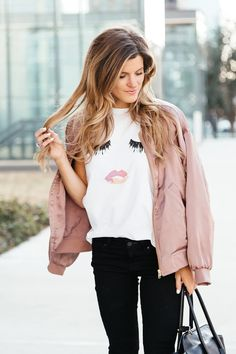 sincerely jules lips and lashes tee, leith pink bomber jacket, black jeans, casual everyday outfit