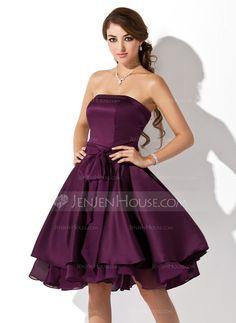 A-Line/Princess Strapless Knee-Length Satin Chiffon Bridesmaid Dress With Ruffle Bow(s) (007051876)