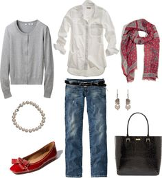 gray cardigan, white button down shirt, jeans, red scarf and shoes