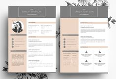 Resume + Business Card PSD File by Emily's ART Boutique  on Creative Market