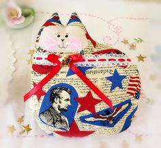 Hey, I found this really awesome Etsy listing at https://www.etsy.com/listing/226705712/patriotic-cat-pillow-doll-cloth-doll-7