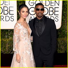 Corinne Foxx Walks Golden Globes 2016 Carpet with Dad Jamie Foxx.  That bird detail!
