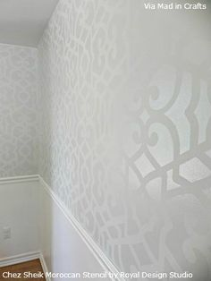 The Moroccan Chez Sheik Stencil is super popular with professional finishers, DIYers and even superstar designers like Martyn Lawrence Bullard. An allover wallpaper look is wonderful for feature walls but Jessica decided to go full-on Stencil Fabulous by stenciling all her dining room walls! She started with a gray matte paint as the base color and then chose a glossier sheen in a color that was one shade darker. It's subtle, contemporary and very sophisticated.