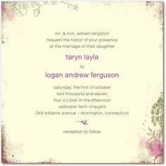 Rustic Garden Greenery Signature Ecru Wedding Invitations in Blue, Green, Pink, Orange and More