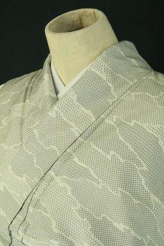 White hiroe komon kimono / 白地 霞取り絣柄の単衣小紋   #Kimono #Japan http://global.rakuten.com/en/store/aiyama/