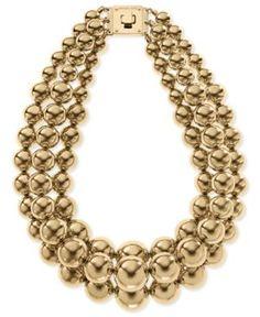 Michael Kors Necklace, Gold-Tone Drama Bead Turn-Lock Necklace