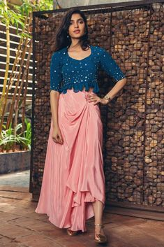 Bluish Green Color Party Wear Designer Suit – Fabbily A Woman's Best Friend. Various forms of jewellery, All you have to do is just check out our exclusive collection Indian Dresses, Indian Outfits, Pakistani Dresses, Churidar, Anarkali, Pink Pleated Skirt, Draped Skirt, Blue Crop Tops, Festival Wear